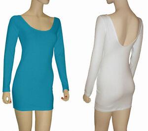 Junior Cotton Spandex Long Sleeve Low Back Mini Dress