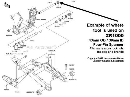 30mm SPECIAL SPANNER TOOL for SWINGARM PIVOT LOCK NUT KAWASAKI ZX-14R ZX14 06-14