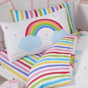 Arc-En-Ciel-Ciel-Raye-Junior-Ajuste-Drap-et-Set-Taie-D-039-Oreiller-Colore-Enfants