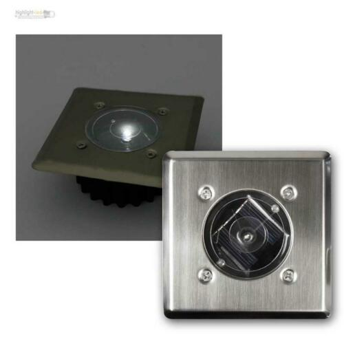 LED Solar Boden-Strahler Edelstahl-Einbau-Leuchte IP44 mit Dämmerungs-Sensor