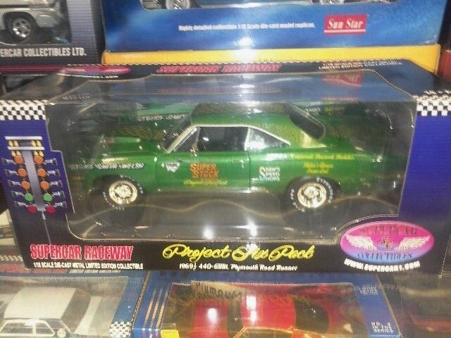 1 18 Ertl 1969 1 2 440 6BBL Plymouth Road Runner Rally Vert Supercar 1 de 1500