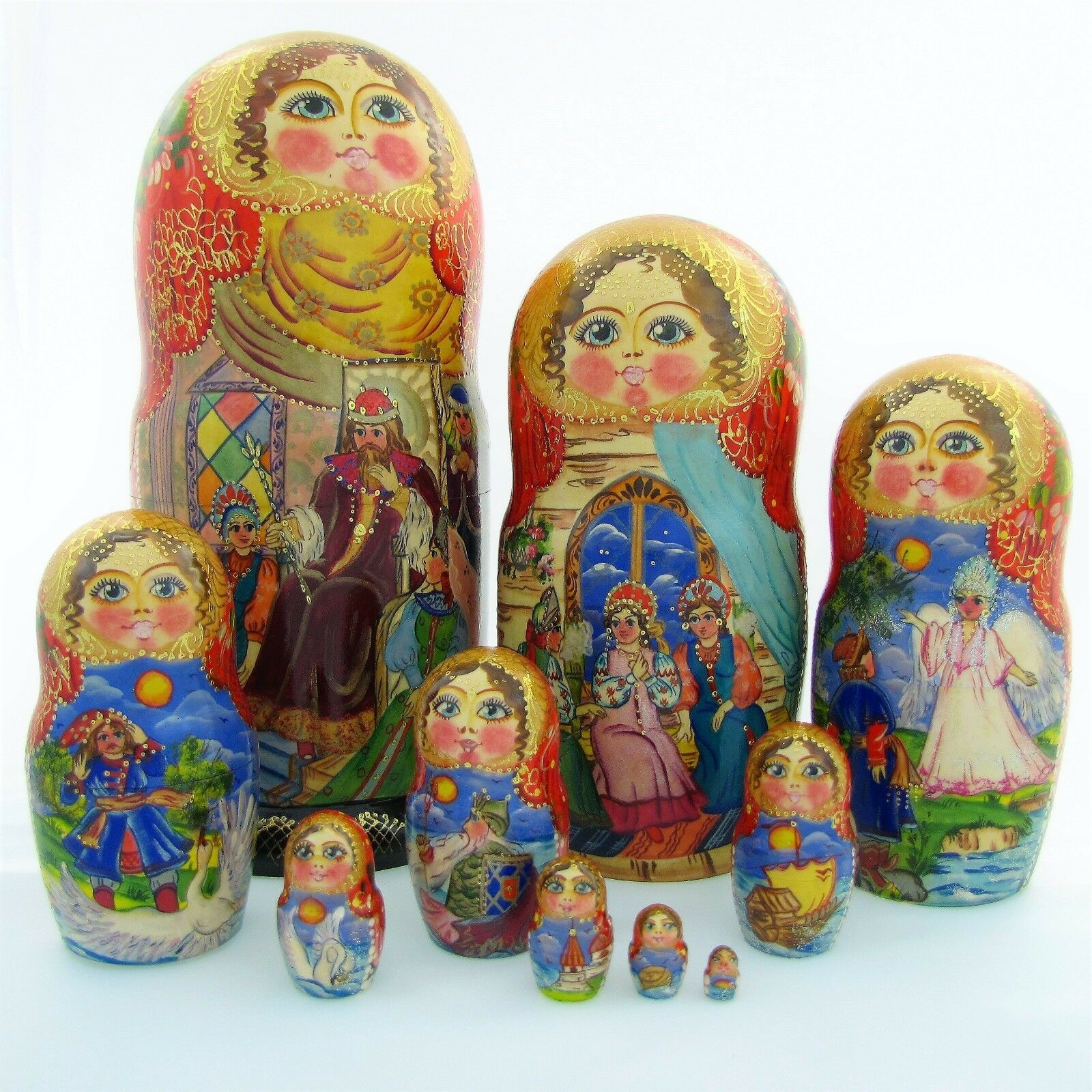 10 Poupée russe H28 peint main signé Matriochka Gigognes Nested Doll Matrioshka