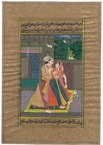 Hand-Painted-Mughal-Miniature-Painting-Indian-King-amp-Queen-Love-Scene-On-Paper