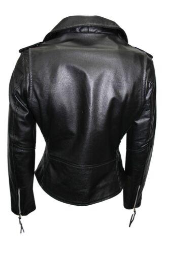 en Brando cuero negro estilo de estilo biker de cuero Chaqueta vacuno Nuevo de genuino Iwqfxv5gS
