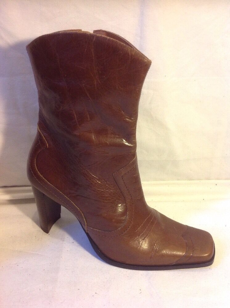 Dgoldthy Perkins Brown Ankle Leather Boots Size 8