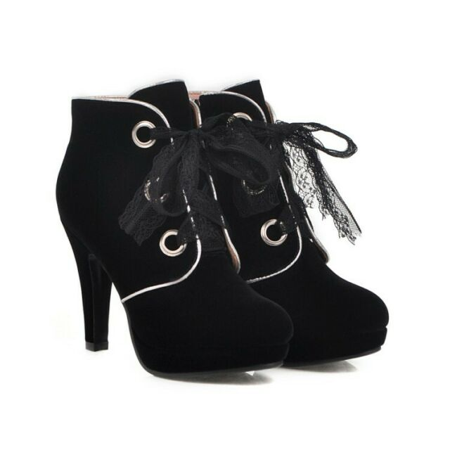 Retro hot Womens Faux Suede Chunky Heel Round Toe Lace Up casual Ankle Boots
