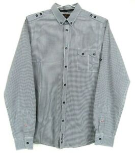 Ben Sherman Mens Shirt Size S Long Sleeve Button Up Black and White Check