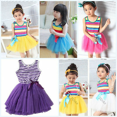 Sweet Baby Girls Kid Princess Dress Stripes Vest Tulle Skirt Toddler Clothes New