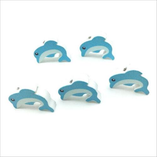 Grano De Madera Forma de Delfín para bebé Crafts /& Chupete Clip Collar hágalo usted mismo 20 mm