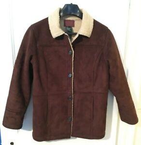 Ralph-Lauren-Brown-Faux-Shearling-Coat-Mens-Size-Small-Button-Jacket-Faux-Suede