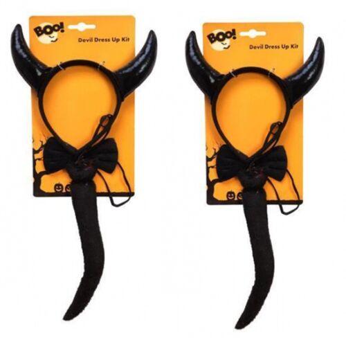 Ladies 3 Piece Devil Horn Kit Set Tail Bow Tie Red /& Black Naughty Halloween Kit