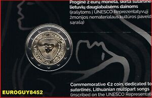 LITOUWEN - COINCARD 2 € COM. 2019 BU - LITOUWSE VOLKSLIEDEREN