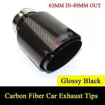 Inlet 63mm Outlet 101mm 100/% Real Carbon Fiber Mattle Black Exhaust Tips Muffler