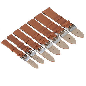 1 PCS BROWN Unisex Genuine Leather Stainless Steel Clasp Buckle Watch Band Strap
