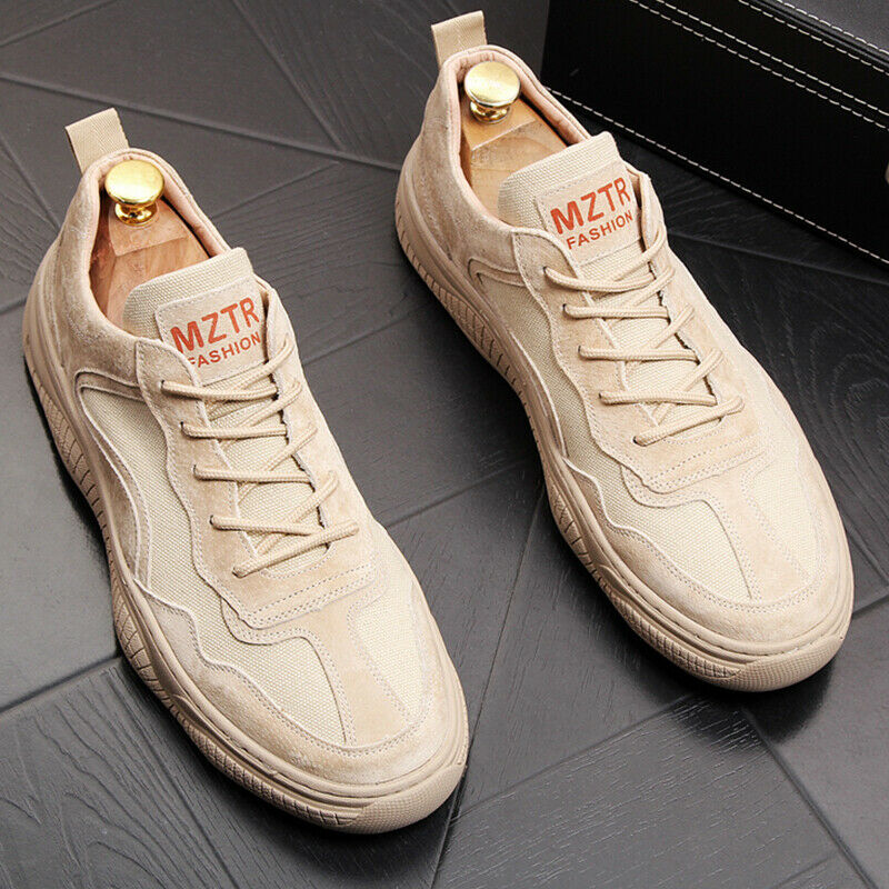 Men Leather Casual Sports shoes Lace Up Round Toe Flat Loafers Athletic Sneakers