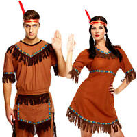 Red Indian Adults Fancy Dress Wild Western Native American Mens Ladies Costumes