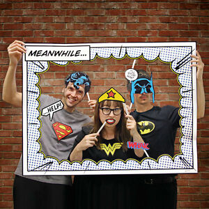 Superhero Photo Booth Props Includes Frame Batman Superman ...