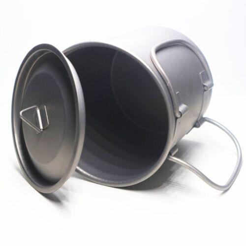 400ML Titanium Pot Titanium Water Mug Cup with Lid and Foldable Handle Pot UI