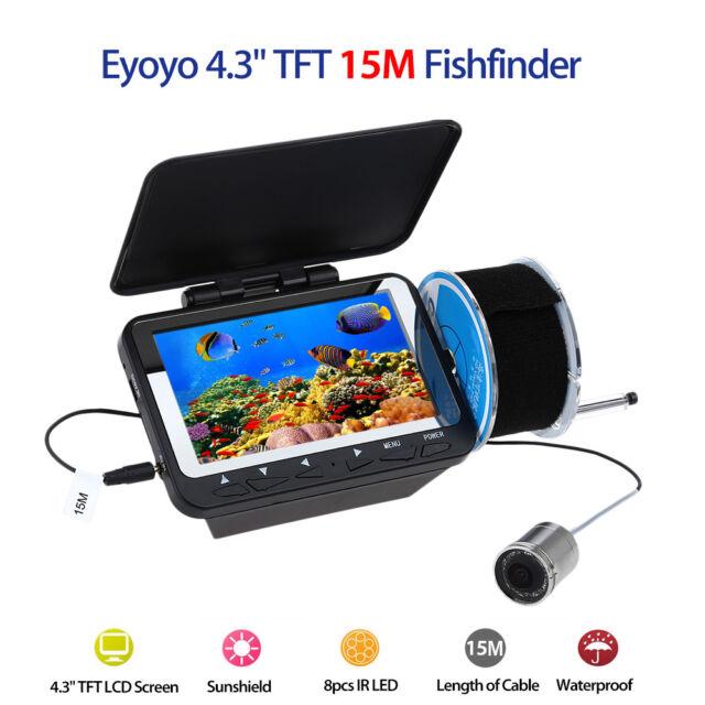 "Eyoyo 4.3"" 15M LCD Monitor IR Fish Finder Detector Underwater Fishing Camera LED"