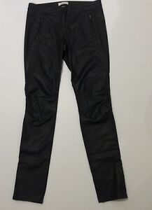 Country-Road-Size-10-Jeans-Black-Leather-Look-Super-Skinny-High-Rise-Zip-Ankle