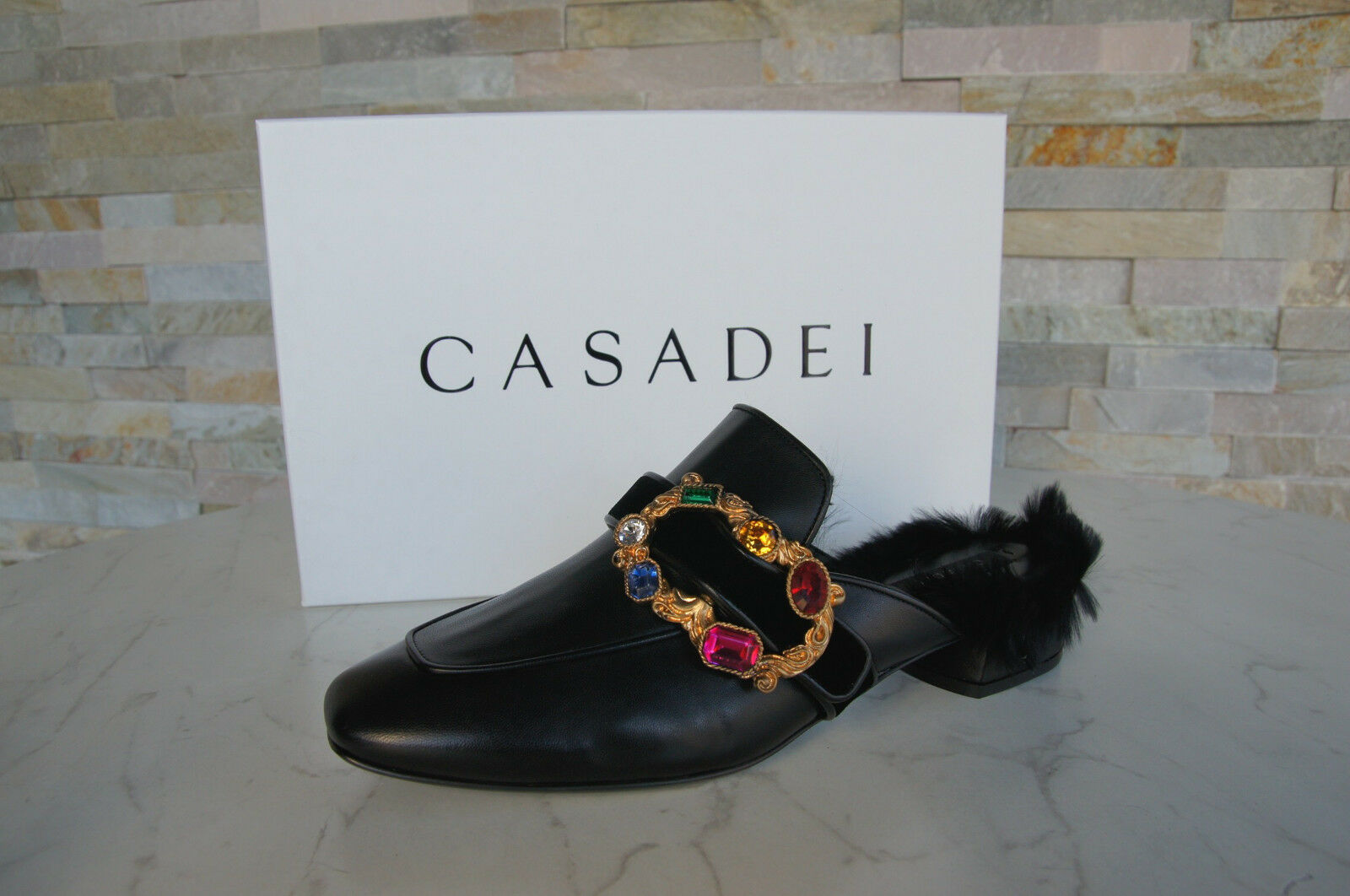CASADEI GR 38 fur of sabots mules slippers zapatos negro new formerly EIA