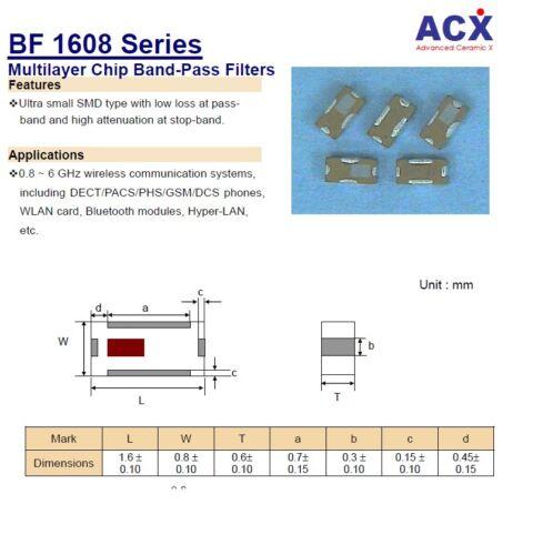 10 un BF1608-L 2 R 4 DAAT baja pérdida 2.4GHz 2.5GHz 1.6x0.8mm filtros de paso de banda ACX