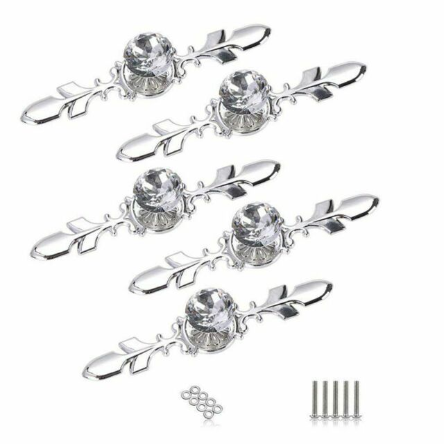 5 Pack Crystal Drawer Knobs with Silver Plate - Diamond Shape Cabinet Drawe N9Q3