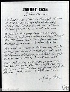 JOHNNY-CASH-Handwritten-Lyrics-039-I-Walk-The-Line-039-Country-Music-Star-preprint