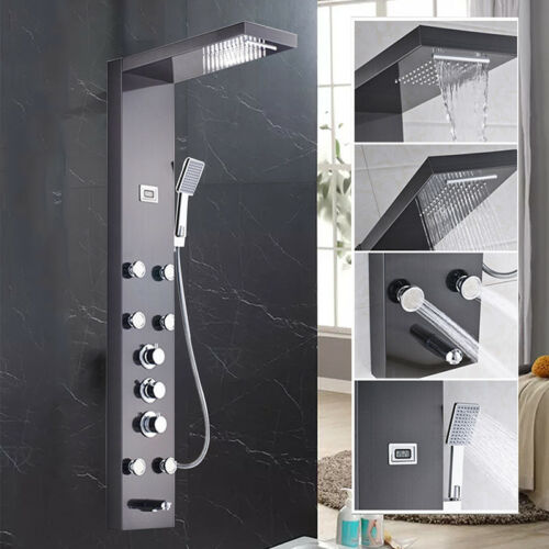 Stainless Digital Shower Panel Column Body Massage System W//Hand Sprayer Set