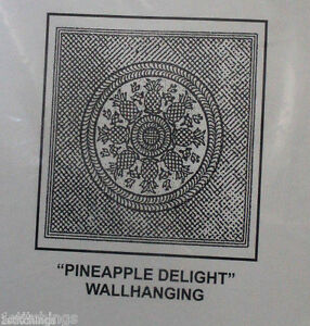 """Antique White Pre-Printed Wholecloth Quilt Top Pineapple Delight 40""""x40"""""""