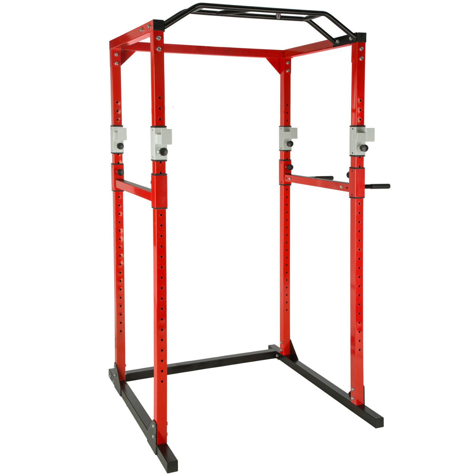 Estación fuerza estación fitness power rack power cage klimm dip robusto rojo-negro