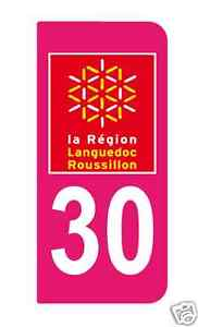 2-Stickers-style-Immatriculation-Europe-auto-adhesif-10cm-chiffre-30-ROSE
