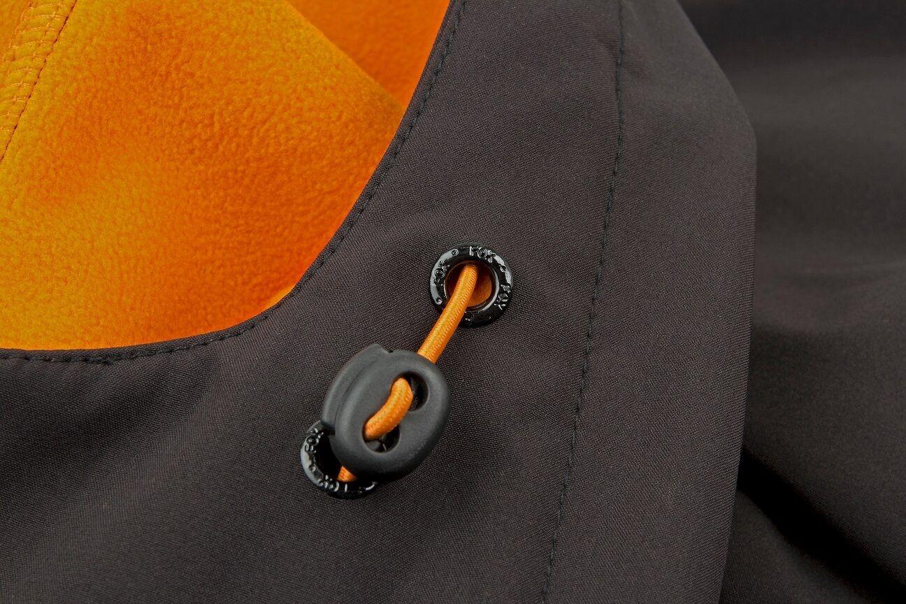 Fox schwarz Orange Softshell Jacket Angeljacke Soft Shell Shell Shell Jacke Kapuzenjacke 3cd224