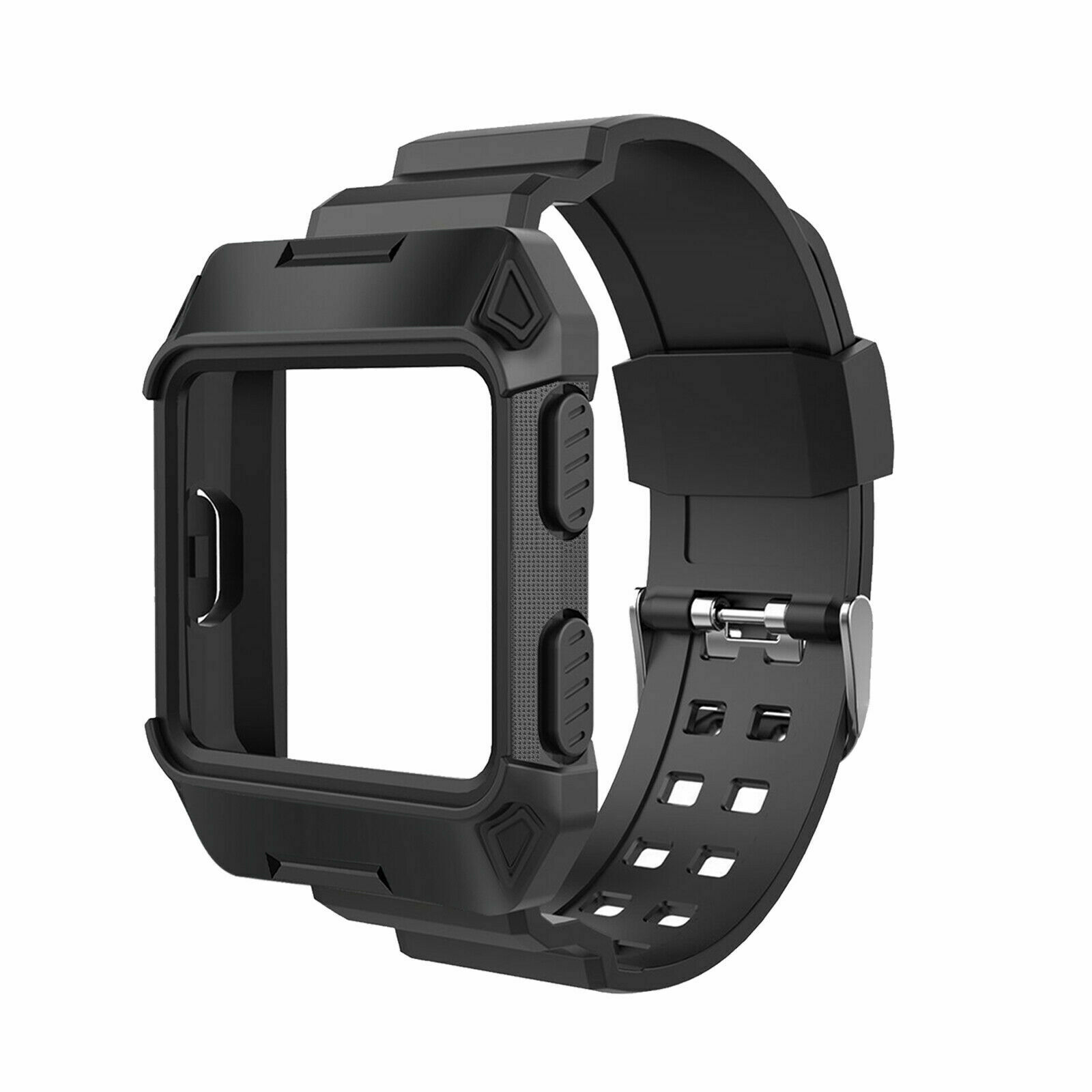 Black Armor For Fitbit Ionic Rugged Band Protective Case /& Large Wristband Strap