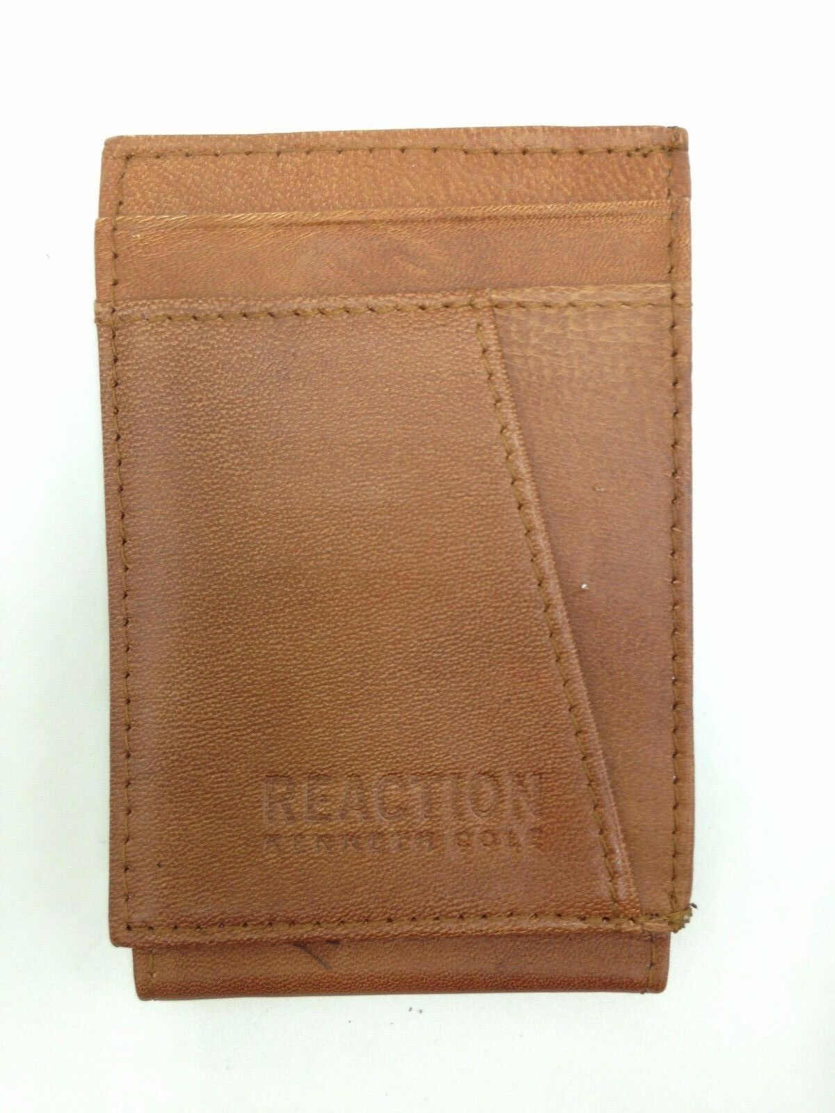 Kenneth Cole Men'S Brown Leather Card Id Magnetic Front Pocket Rfid Wallet