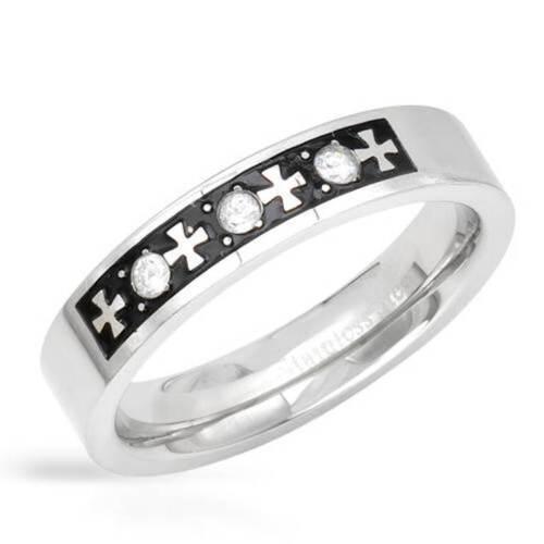 Men's Cross Ring-Cubic Zirconia in Black Enamel and Stainless Steel