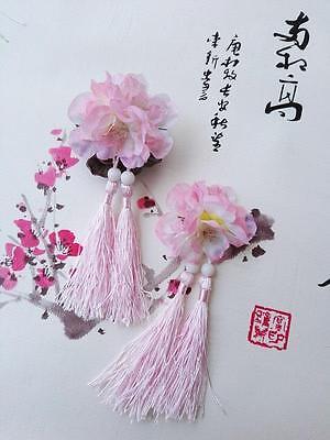 1 Pairs of Flowers Hanfu Style Hair Clip with Tassels Hairpin Vintage Cute