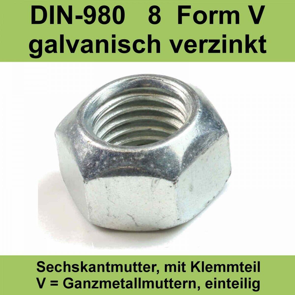 M14 DIN 980 .8 verzinkte Sechskantmuttern Stopmuttern Sicherungsmuttern 20-500St