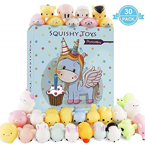 Keychain Phone Straps Slow Rising Simulation Bread Squishies Stress Relief Toys Goodie Bags Egg Filler POKONBOY 30 Pcs Squishies Squishy Toys Party Favors for Kids