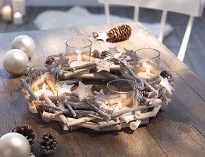 Adventskranz-Sternenglitzer-30cm-Kerzenhalter-Adventsgesteck-Weihnachten