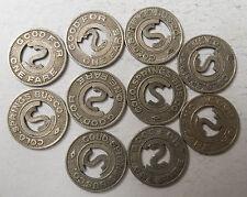 Lot of ten CO140G Colorado Springs Transit Company transit tokens 10
