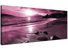 Plum Modern Canvas of Beach for Living Room  - 120cm x 50cm - 1078