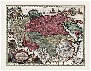Old Vintage Map of Russia Seutter 1744