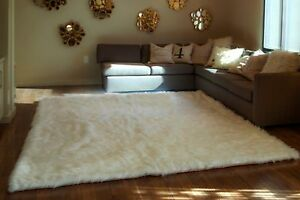 Faux Fur Rug White Shaggy Rug Rectangle Shape Plush