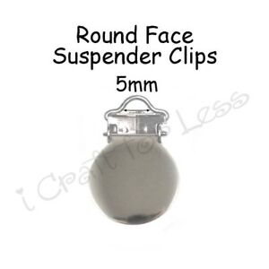 10 Round Face Metal 5mm Suspender Clips w/ Inserts - LEAD FREE - Pacifier Holder