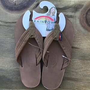 b2d81edeb8ad Women Rainbow Sandals Thick Strap Dark Brown Premier Leather Single ...