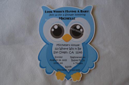 UNIQUE PERSONALIZED OWL BABY SHOWER BIRTHDAY PARTY CUSTOM INVITATIONS U CHOOSE