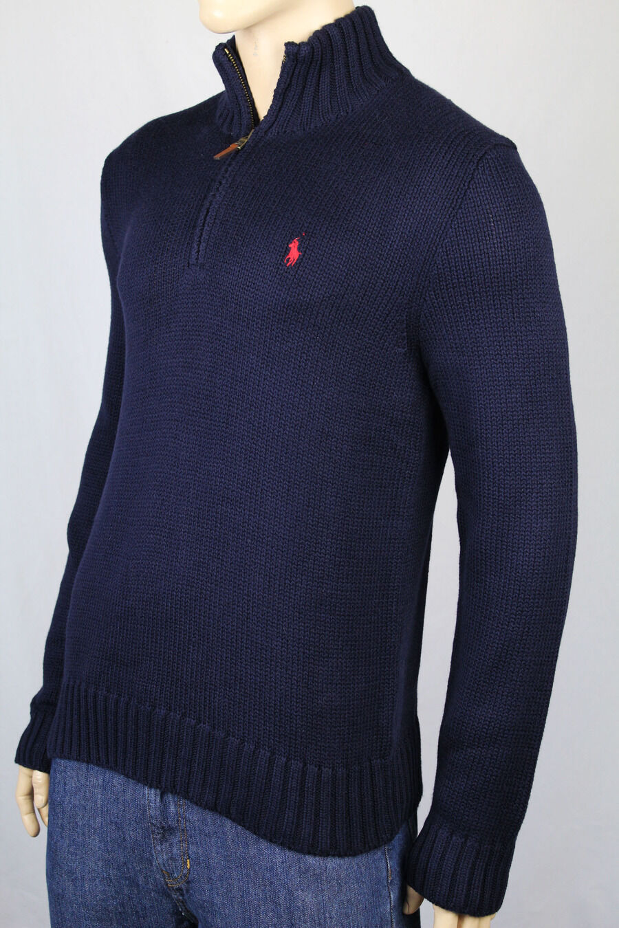 Polo Ralph Lauren Large L Navy bluee 1 2 Half Zip Sweater Red Pony NWT