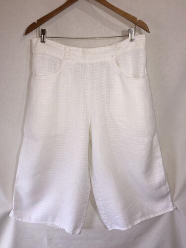 FLAX Engelhart White Cropped Capri LINEN Wide Leg… - image 1