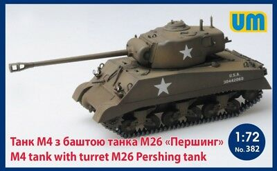 Models & Kits Aircraft (non-military) Capable Unimodel 1/72 M4 Tank With Turret M26 Pershing Tank # 382